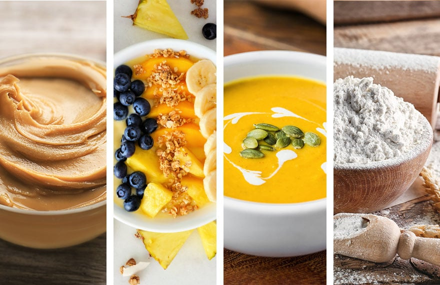 blending recipes - nut butter, smoothie bowl, hot soup, flour