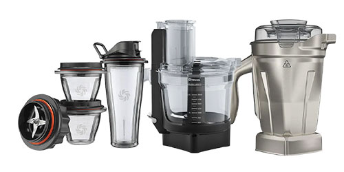 vitamix accessories - blending bowl and cup, food processor, stainless steel container