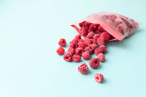 silicone freezer bags with raspberries
